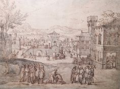 Flemish school  (16th/17th century(?)) Pen, ink and wash Busy town scene with figures, horses and