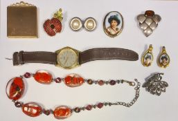 Quantity of costume jewellery, bead necklaces, clip-on earrings, trinket boxes, brooches, etc (3