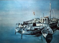 """After Roland Hilder Colour print Fishing boats moored R Quaile Watercolour drawing """"High and"""