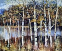 Lawrence Hill Oil on board Silver birches beside a lake, signed and dated 1991, 49cm x 60cm