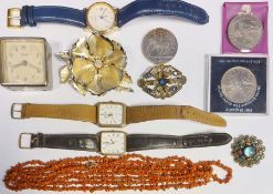 Quantity of costume jewelleryto include coral bead necklace, assorted watches, brooches, beaded