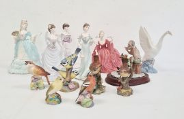 Five various Coalport figures of ladies in evening dresses, to include Mary Antoinette sculptured by