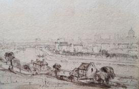 "Richard Parkes Bonington (1802-1828) Pencil and wash ""Paris from St Cloud"", city view with Seine in"