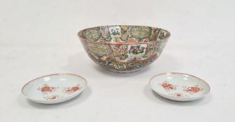 Chinese Canton porcelain bowlwith floral medallions on an orange scale ground, 23cm diameter and