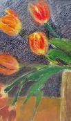 """Diana Gillies (Scotland) Mixed media """"Droopy Tulips"""", 23.5cm x 14cm Iona Shore Pastel Coastal scene"""