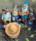 Eight various garden gnomes including sleeping Mexicans