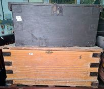 Large metal banded wooden box and another (2)