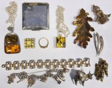 Quantity of costume jewelleryto include silver charm bracelets, compacts, silver and