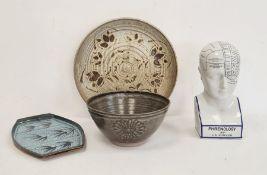20th century studio pottery blue glazed platestamped 'Stoke Gabriel Lotus Pattern, South Devon',