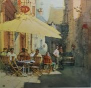 """Paul Banning ARSMA """"A Quiet Corner, Dinan"""", initalled and labelled verso, 22.5cm x 22cm"""