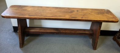 20th century bench on trestle-style base, 122cm x 46.5cm Condition Reportcondition good, solid,