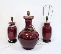Three Asian porcelain vase lamps with sang-de-boeuf glaze (3)  Condition Reporttallest only;  unable