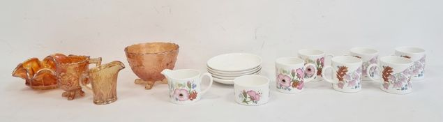 Wedgwood bone china part coffee set'Meadow Suite' pattern, no.R4528 and carnival glass bowls and