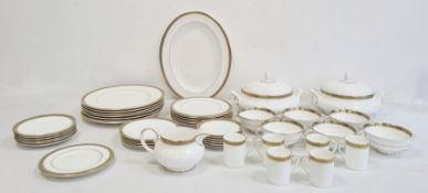 Royal Doulton dinner service with gilt border on a white ground 'Clarendon' pattern, no.H.4993