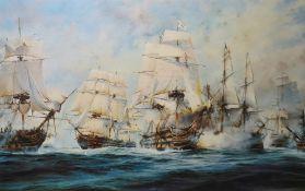 After Robert Taylor Colour print The Battle of Trafalgar, framed