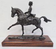 Belinda Sillars (b.1961) bronze female rider on horseback, signed and numbered to base 2/6, on