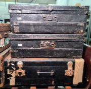 Two vintage metal travelling trunks and another (3)