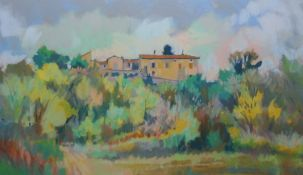 David Napp (b.1964) Pastel Continental landscape, signed and dated 94 lower right, 26cm x 45cm