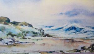 """Geoffrey Ainley Watercolour drawing """"La Belle, S France"""", framed Geoffrey Ainley Watercolour"""