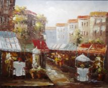 Assorted picturesto include 20th century oil on canvas, continental street scene, signed lower