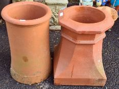 Two terracotta chimney pots