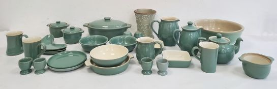 Collection of green glazed Denby pottery stoneware comprising eggcups, jug, teapot, hot water jug,
