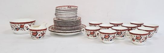 19th century porcelain part tea service decorated in Imari red, blue and gilt highlights all on