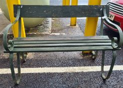 Wrought iron and wooden slatted bench, 110cm wide