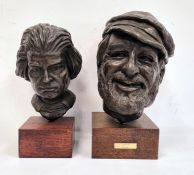 Doreen Kern (b. 1931) two various patinated bronze overlay busts on square wooden plinth bases,