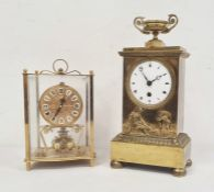 Kundo Kieminer Bergfell gilt metal and glass mantel clock, 20cm high approxand another brass mantel