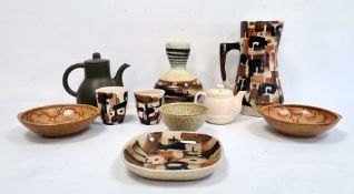 Claycraft teapot, a Carltonware dish, a studio pottery dish, a vase and other ceramics