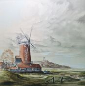 """Arthur H Waskett Watercolour drawing """"Cley Mill with Blakeney Church"""", windmill in foreground,"""