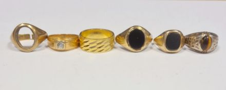 18ct gold gent's ring (missing stone), 5g total, a 9ct gold gent's ring (missing stone), 5g total,