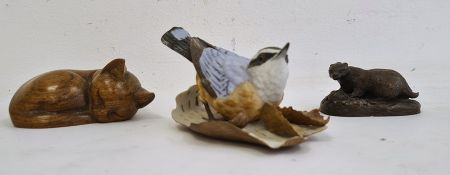 Brooks & Bentley miniature ceramic blue tit on silver birch bark, with relief of leaves, a carved