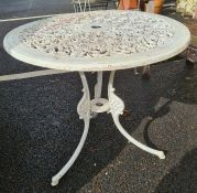 Cast pierced aluminium circular garden table in white, 68cm diameter