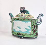 Chinese porcelain censer and cover, oval, straight-sided with Dog of Fo knop, in famille verte