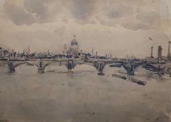 """William Thomas Martin Hawksworth (1853-1935) Watercolour drawing """"The Thames - Distant View of St"""