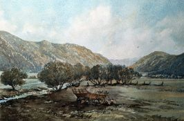 Shlobon(?) Watercolour drawing Landscape with hills in the background, stream and two figures
