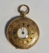 14ct gold cased fob watchwith engraved decoration and Roman numeral enamel dial, marked '14K',