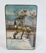 Russian rectangular lacquered box, black with winter scene to lid, signed indistinctly lower right