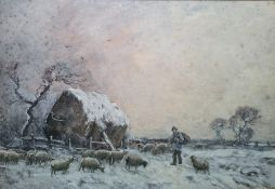 Joseph Farquharson (1846 - 1935) Watercolour heightened with white Shepherd and sheep in snowy