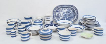 Large collection of T G Green & Co Cornish kitchenware, typically blue and white striped pottery,