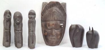 Carved African mask, carved monkeys 'See No Evil, Hear No Evil and Speak No Evil', two carved