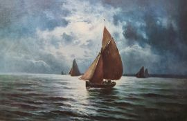 After Harold Webb Colour prints Red sailed fishing boat in high seas and another in calm waters