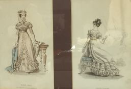 """Pair of coloured engravings """"Morning Dress"""" and """"Evening Costume"""", 21cm x 13cm framed together"""