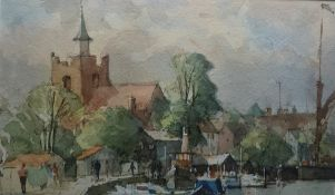 """Paul Banning Watercolour """"Rising Tide, Maldon"""", harbour scene with church and buildings in"""