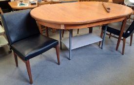 20th century, probably G-Plan Fresco, teak extending dining table (one leg damaged) and four black