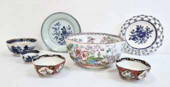 Ashworth Brothers Hanley octagonal-shaped bowl decorated in famille rose style, Caughley