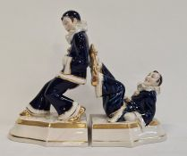Pair of glazed pottery Royal Dux bookends styled as a pair of Pierrots (2) Condition ReportThe