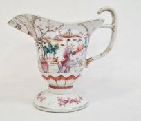 Late 19th century Chinese porcelain footed jugpainted in famille rose colours with figures in